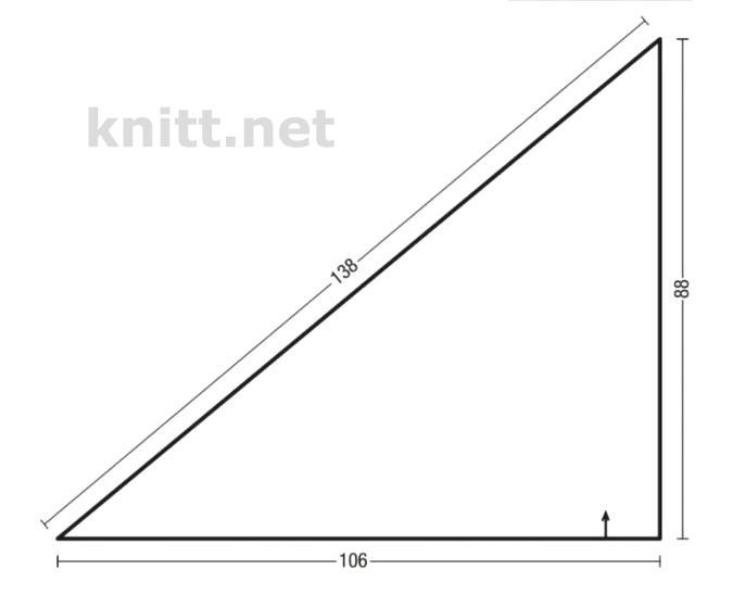 Вязаный треугольный платок с переходом цвета