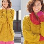 Вязаный яркий комплект пуловер снуд и митенки