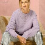 Вязаный женский пуловер цвета лаванды