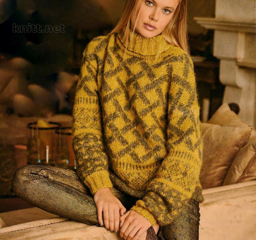 Вязаный женский пуловер с жаккардовыми ромбами