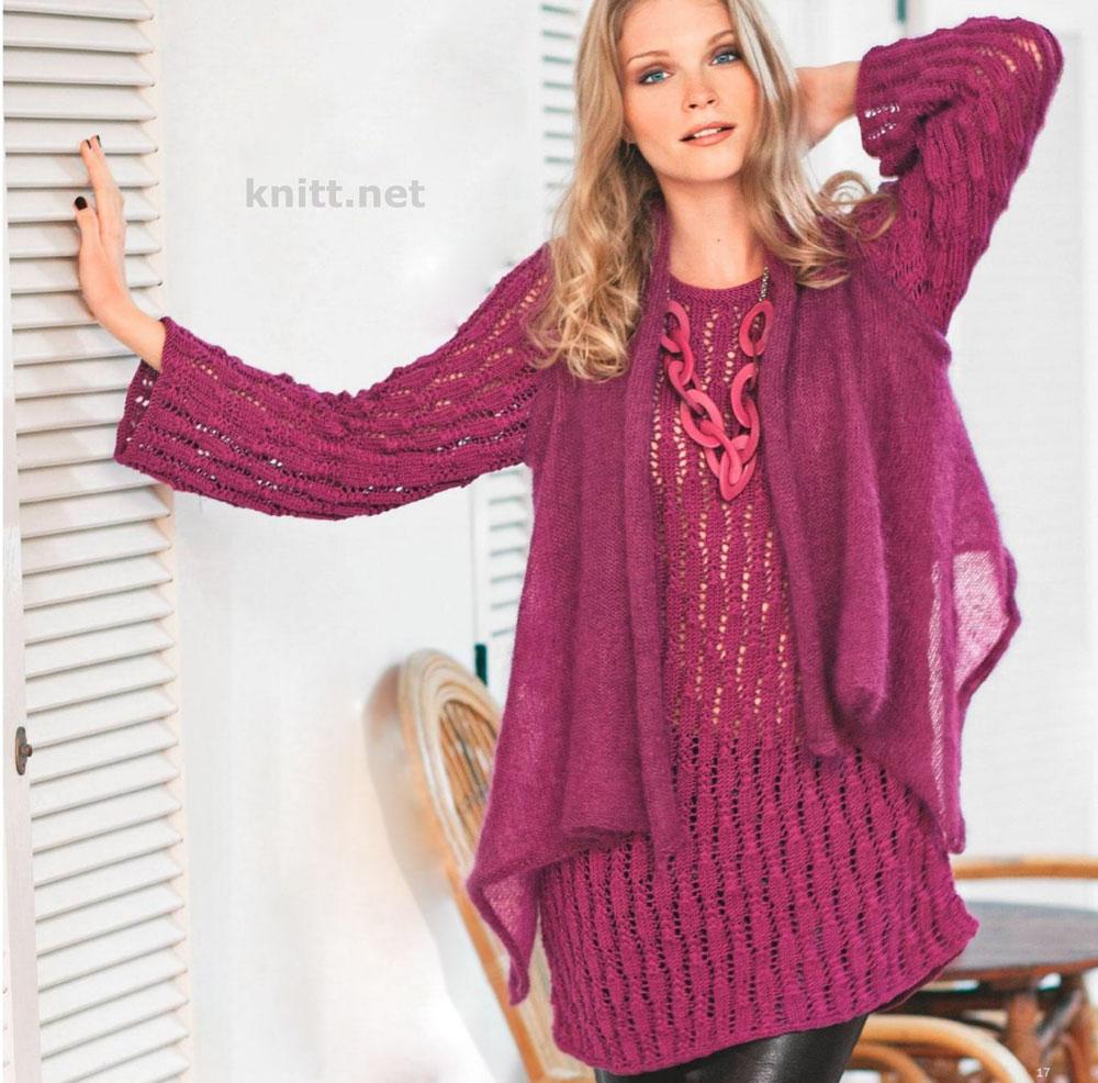Длинный пуловер и палантин-жилет спицами