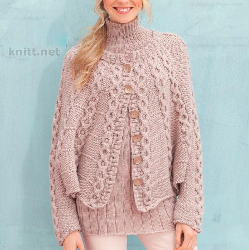 Комплект-двойка из кейпа и пуловера