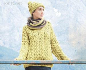 Объемный пуловер снуд и шапка