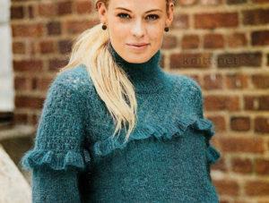 Пуловер с рюшами и ажурным узором