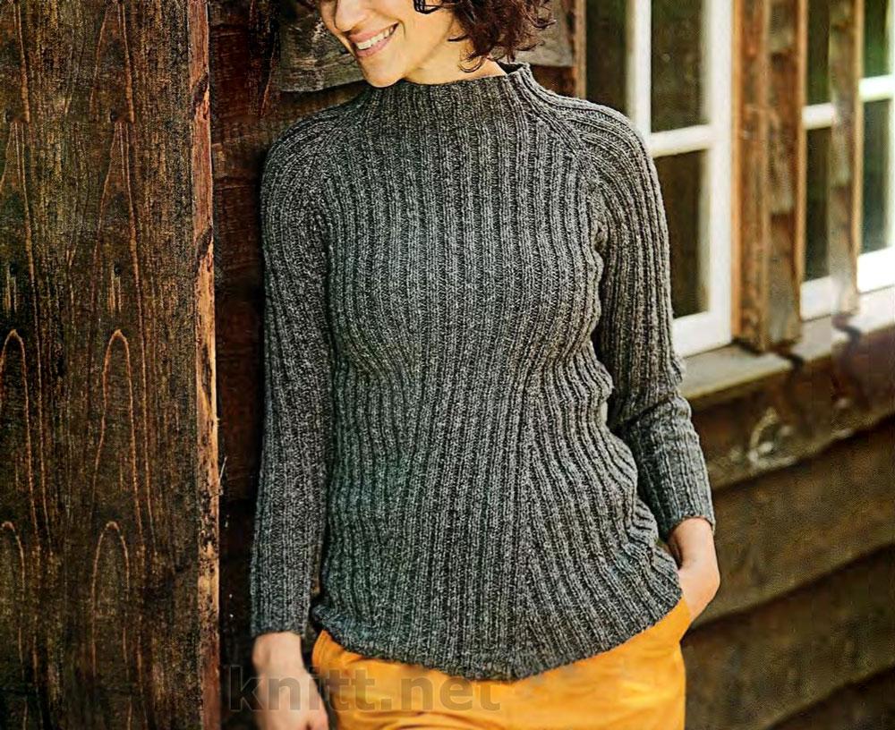 Пуловер со смещенным узором резинки