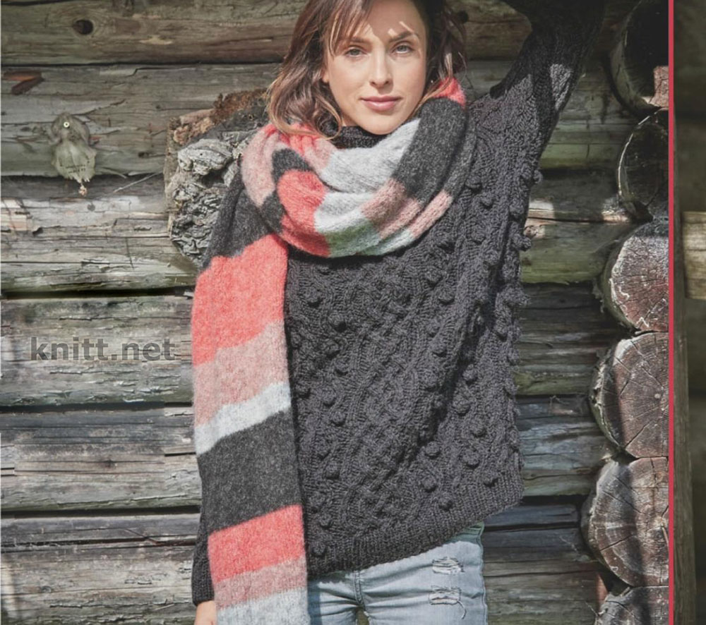 Темно-серый пуловер и объемный шарф