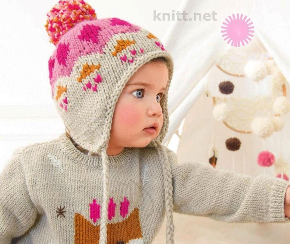 Вязаная детская шапка с рисунком