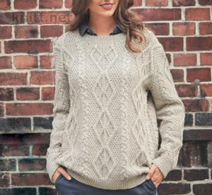 Вязаный пуловер с сочетанием узоров