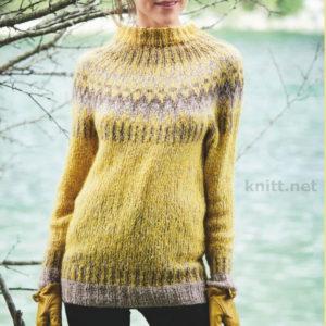 Вязаный пуловер с жаккардовой кокеткой