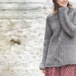 Вязаный серый пуловер узор рустик