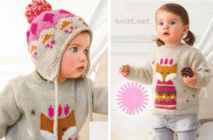 Вязаный свитер с лисенком