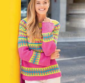 Пуловер реглан с узором