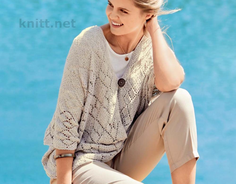 Вязаный пуловер пончо с ажурным узором