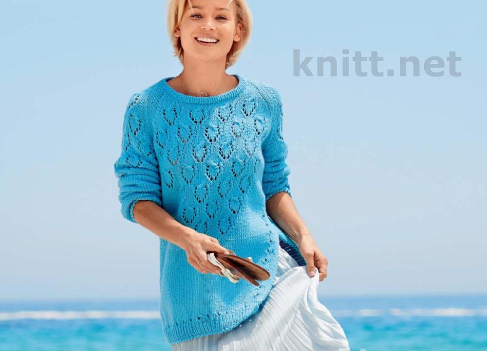 Вязаный пуловер реглан с разрезом сбоку