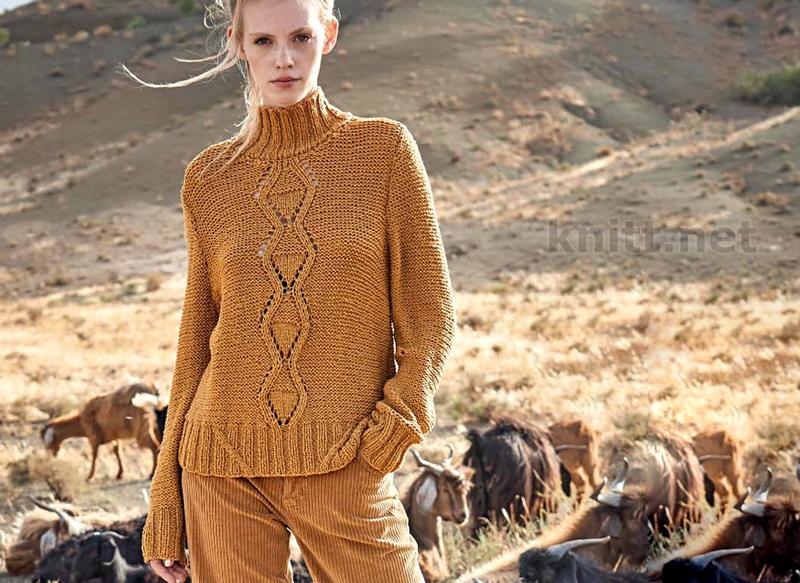 Пуловер с полосой из ромбов