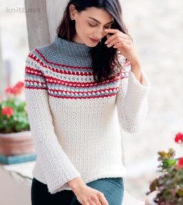 Пуловер с воротником стойкой