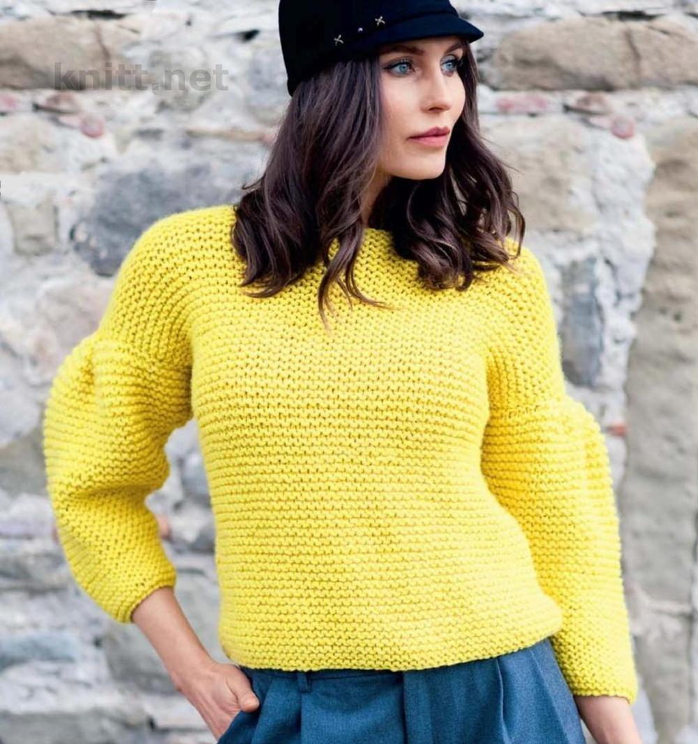 Пуловер спицами из толстой пряжи