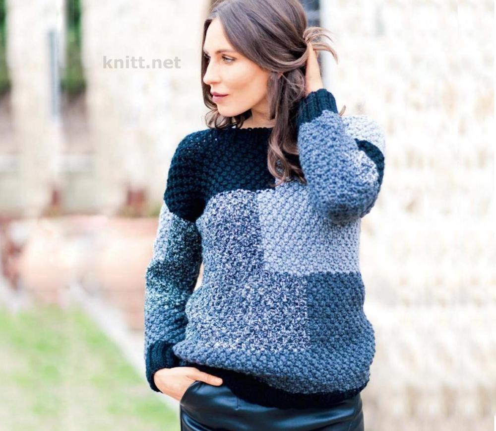 Вязаный пуловер с коллажем из прямоугольников