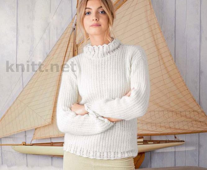 Пуловер с ажурным воротником стойкой