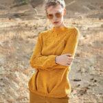 Пуловер с круглой кокеткой спицами
