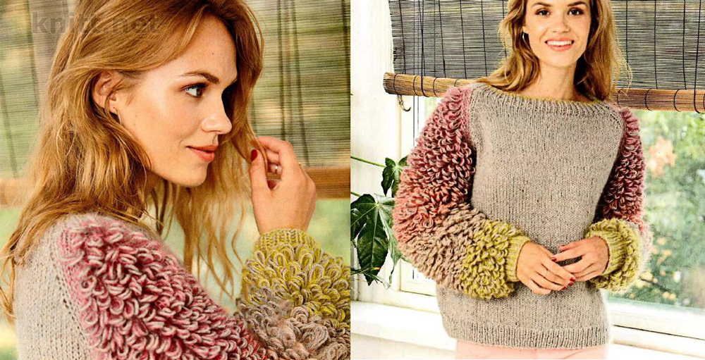 Пуловер украшенный крупными петлями