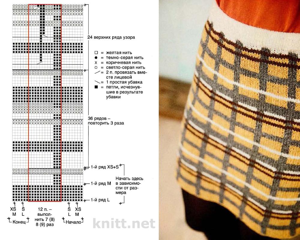 Вязаная юбка в клетку