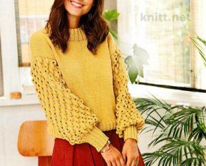 пуловер с пышными рукавами