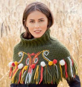 Мини-пончо с вышивкой
