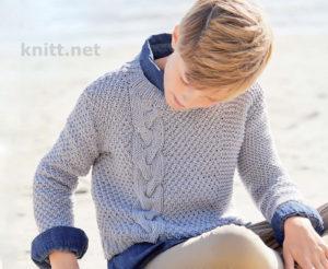 Пуловер с косой для мальчика