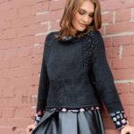 Пуловер реглан с узором листья