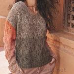 Пуловер с ажурным узором Листочки
