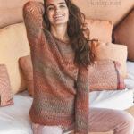 Вязаный пуловер с узором из ажурных полос