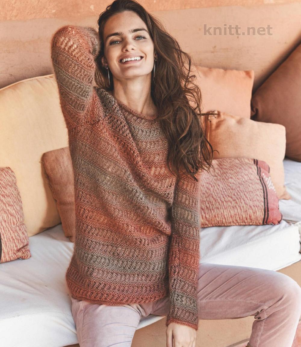 пуловер с узором из ажурных полос