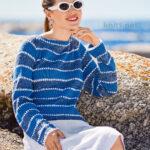 Джемпер в морском стиле с ажурными полосками