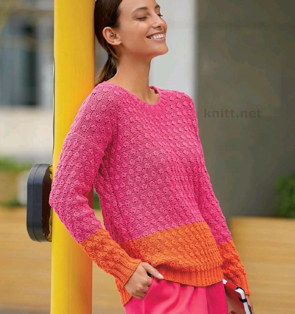 Пуловер из ленточной пряжи