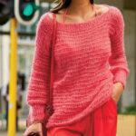 Пуловер в полоску на толстых спицах