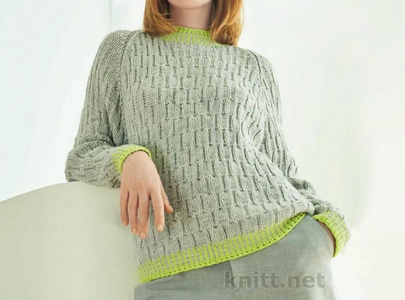 Женский осенний пуловер со структурным узором